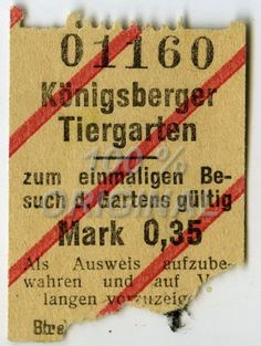 83# Fahrkarte Königsberg Ostpreussen ~ Königsberger Tiergarten