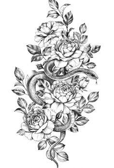 Thigh Piece Tattoos, Floral Thigh Tattoos, Pieces Tattoo, Tattoo On Thigh, Dog Tattoos, Cute Tattoos, Body Art Tattoos, Hand Tattoos, Tatoos