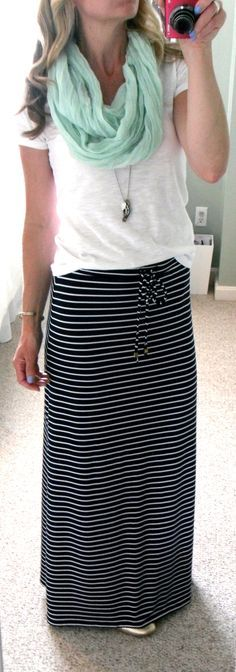 """Michael Kors navy blue and white stripe maxi skirt, F21 white slub knit v-neck t-shirt, mint infinity scarf, AE necklace, Target gold perforated ballet flats, Sally Hansen nail polish in """"Set Sail"""""""