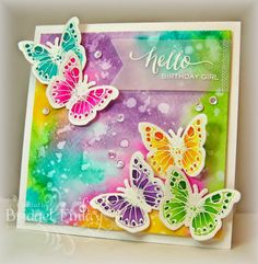 Butterfly Trail—a card using some of the techniques we're seeing in the Watercolor for Cardmakers Online Class...