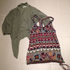 2 Pieces American Rag Olive Green Light Weight High-Low Cardigan && Patterned Multicolor Racerback Tank with Braided Straps and Drawstring waist. This is an extremely comfy combo! Perfect for every season and very versatile. Both in perfect condition. Both are MEDIUMS and are the brand AMERICAN RAG American Rag Other