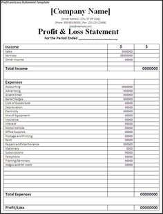 Profit And Loss Statement Form Printable