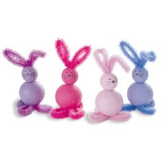 Paint 2 beads w/large holes. Bend pipe cleaner into an M. Bend ends of pipe cleaner under larger bead to form 2 big feet, & adjust loops above smaller bead for ears. Glue on pom tail. Easter Activities, Preschool Crafts, Crafts For Kids, Bunny Crafts, Easter Crafts, Spring Crafts, Holiday Crafts, Happy Easter, Easter Bunny