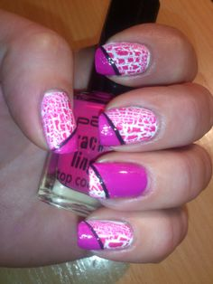 NOTD Pink Crackling ... Nail Art Design