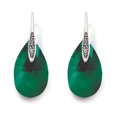 Glittering Swarovski crystal emerald drop earrings from Miglio Swarovski Crystals, Emerald, Gems, Glitter, Drop Earrings, Jewellery, My Style, Modern, Beauty