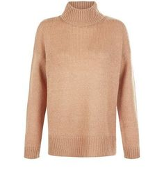 Tall Camel Ribbed Turtle Neck Jumper