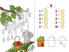 Вектори, подібні до 138204256 Educational page with exercises for children on addition and subtraction. Need to solve examples and to paint the image in relevant colors. Developing skills for counting. Number Puzzles, Kids Math Worksheets, Preschool Education, Learning Numbers, Math For Kids, Learning Through Play, Exercise For Kids, Cartoon Characters, Bunt