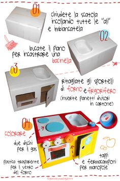 LA CUCINETTA / pretend play: cardboard kitchen step by step Cardboard Kitchen, Cardboard Play, Cardboard Box Crafts, Diy Kids Kitchen, Toy Kitchen, Toddler Kitchen, Recycled Kitchen, Pretend Kitchen, Mini Kitchen