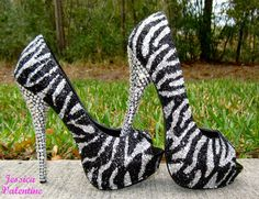 Zebra Silver & Black Glitter Heels by RippedClothing on Etsy