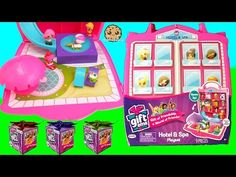 Shopkins Vacation At Gift Ems Hotel and Spa Playset with Water Pool + 5 surprise Blind Bag Presents - YouTube
