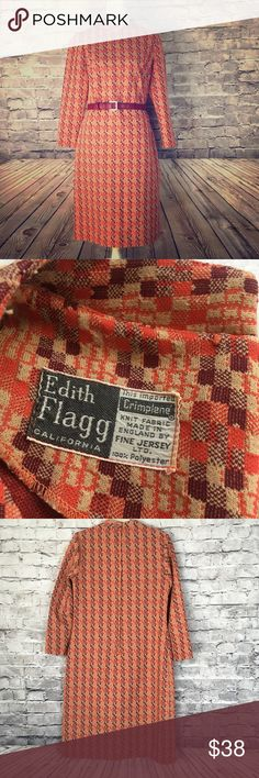 """1960s Dress Edith Flagg Geo Pattern Cool vintage poly/crimpolene dress in fun fall colors - orange, tan, and burgundy.  Some minor pilling, (which I will take care of) but overall in great condition. It fits like a modern size 12. Please refer to measurements. All measurements are taken while garment is laid flat: shoulder to shoulder-15"""", pit to pit-20"""", waist-18"""", hip-21.5"""", length-40"""". Unlined. Has belt loops. Belt not included. Questions? Pls message me. Vintage Dresses Midi"""