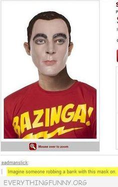 Funny Sheldon Mask From The Big Bang Theory with Bazinga T Shirt