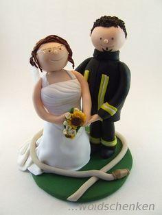 Tortenfiguren Brautpaar Feuerwehr