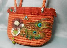 Orange wicker with hand made elements ,feathers,... — http://www.wickerparadise.com