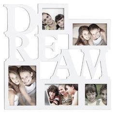 "Wedding gift:ADECO PF0014-W 5-Opening White Wood Wall Haning Collage Photo Picture Frames - Holds 4x4 4x6 5x7 Inch Photos,Saying ""DREAM"",Home Deco Wall Art,Great Gift"