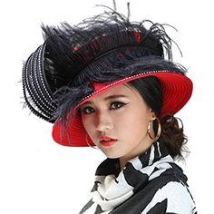 b1b9bd2a30bab June s Young Women Church Hats Gorgeous Women Hat Wide Brim Satin Feathers  Review