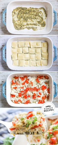 ONLY 5 ingredients and 1 pan! This easy Chicken Ravioli Bake brings layers of cheese ravioli, bright and herby pesto, fresh tomatoes, tender rotisserie chicken and lots of delicious cheese together to make this crowd pleasing casserole! Ravioli recipes are the ultimate comfort food. This Caprese Chicken Ravioli Bake has a little something for everyone in the family. This is a quick and easy ravioli casserole with baked caprese chicken that comes together FAST! You will be wowed by the flavor.