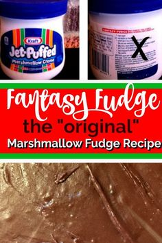 Original Fantasy Fudge {Marshmallow Fudge} No imposters here! Yes, the Original Fantasy Fudge recipe! Creamy, smooth and melt in your mouth marshmallow fudge recipe that I grew up with and love every year. Marshmallow Fudge, Marshmallow Fluff Recipes, Recipes With Marshmallows, Chocolate Marshmallows, Heavenly Fudge Recipe, Best Fudge Recipe, Fudge Recipes, Candy Recipes, Christmas Snacks