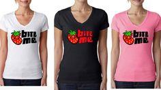 Bite me Fruit Ladies V-neck Strawberry shirt - vegan shirt - vegan clothing - strawberry shirt - fruit shirt