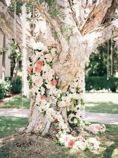 Flower covered tree for a wedding ceremony