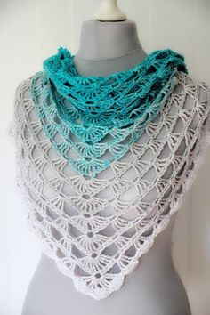 "crochet pattern triangular shawl ""Azores"""
