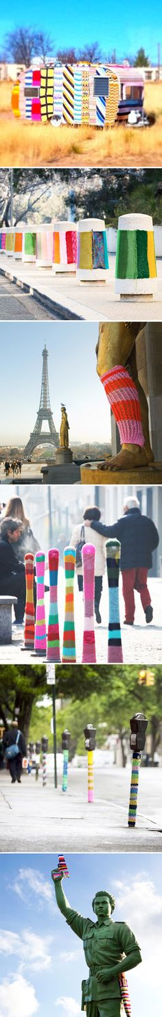 I'm sure you all know of American artist/knitta Magda Sayeg, the queen of knit-bombing,{I showed this bus in 2009, and I've seen her work featured all over the place} but today I saw this video for the very first time:
