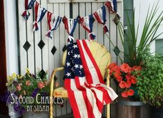 11 Cute Patriotic Decorating Ideas : Patriotic fabric bunting by Second Chances by Susan 4th Of July Photos, Fourth Of July Decor, 4th Of July Celebration, 4th Of July Decorations, 4th Of July Party, 4th Of July Wreath, July 4th, Outdoor Decorations, Independance Day