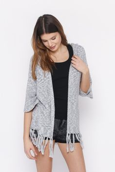 COLLECTION SWEATERS & CARDIGANS  HOODED CARDIGAN WITH FRINGED HEM