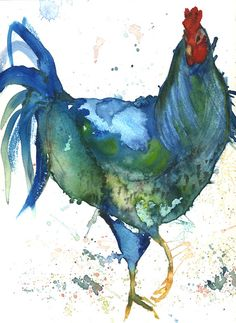 Big Blue Chicken Art Print by artist Leah by LeahMcCloskeyArtist