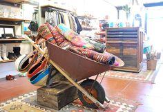 Old Wheel Barrow as Pillow/Blanket Display