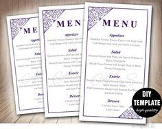 Purple Wedding Menu Card TemplateDIY Printable Menu by paperfull