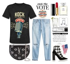 """Rock The Vote"" by rever-de-paris ❤ liked on Polyvore featuring Yves Saint Laurent, Chanel, Happy Plugs, Schott Zwiesel and BBrowBar"