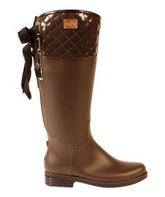 Look at this #zulilyfind! Brown Quilted Eve Rain Boot - Women #zulilyfinds