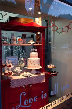 my valentine's window displays at the wedding pantry