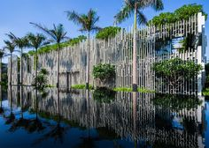 Built by MIA Design Studio in Da Nang, Vietnam with date Images by Hirouyki Oki. The Pure Spa is an oasis of tranquility and facilitates the five-star Naman Retreat, Danang. World Architecture Festival, Green Architecture, Landscape Architecture, Architecture Design, Biophilic Architecture, Architecture Awards, Spa Design, Built In Daybed, Lattice Wall