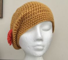 Golden Poppy! Crocheted Soft Beret, Slouchy or Beanie Hat with Poppy Accent. £12.00 Knit Crochet, Crochet Hats, Animal Fibres, Handmade Scarves, Beautiful Gifts, Yarn Colors, Beret, Beanie Hats, Gifts For Friends