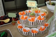 Carrots and ranch at a Peter Rabbit party!  See more party ideas at CatchMyParty.com!