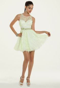 $179.99 (eek!) - Short Lace Dress Dave & Johnny bead trim lace sweetheart. • Cut away lace bodice • Beaded empire waist • Short lace full skirt • Keyhole back and center zipper