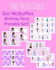 Doc Mc Stuffins Birthday Party Printables