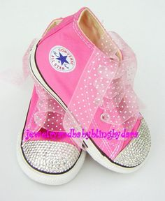 Infant Toddler Converse PINK DIAMOND Bling by jewelrybabyblingdara, $89.99