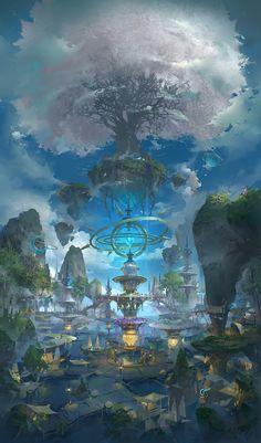 树, 3 LY – Sushi – wallpaper Fantasy Artwork, Fantasy Art Landscapes, Fantasy Concept Art, Landscape Art, Beautiful Landscapes, Space Fantasy, Fantasy City, Fantasy Kunst, Fantasy Places