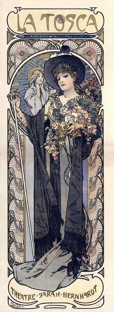 La Tosca Sarah Bernhardt - 12x4.5 image on 16x8.5 Canvas