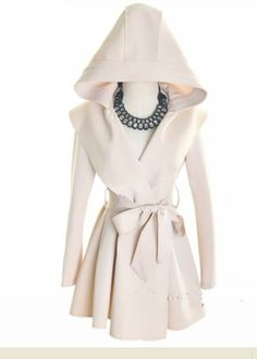 Other Non-Ironing White Long Sleeve Big Lapel Long Hooded Coat With Belt (  color) style - Indressme 554c2688a0