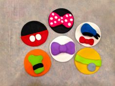 Mickey Mouse Clubhouse inspired fondant cupcake and cookie toppers Mickey, Minnie, Donald, Goofy, Pluto, and Daisy