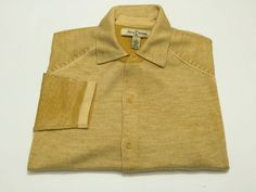 Tommy Bahama L Men's 100% Extrafine Merino Wool Sweater Yellow Long Sleeve Large #TommyBahama #ButtonFront