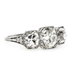 Stunning Edwardian Era Three Stone Diamond Engagement Ring | Big Sur from Trumpet & Horn