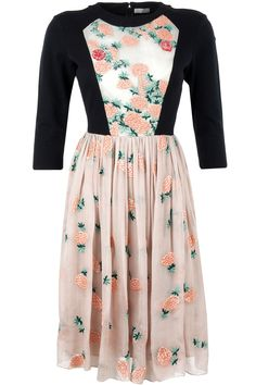 Black and nude floral panel dress