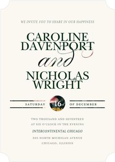 Rosy Union - Signature White Wedding Invitations - simplyput by Ashley Woodman - Pine - Green : Front
