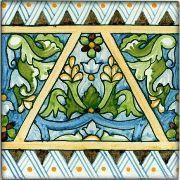 Spanish Burgos Hand Painted Ceramic Tile