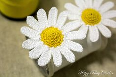 Ravelry: Mini Daisy free pattern by Happy Patty Crochet  this mini blossom looks great on a hair clip, ring, necklace applique, decoration, bag & purse applique and many more.